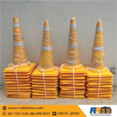 ส่งมอบ กรวยจราจร PVC สีเหลือง 70 ซม.