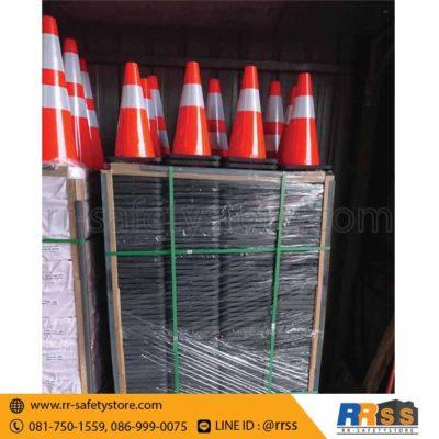 ส่งมอบ กรวยจราจร PVC ฐานเพิ่มน้ำหนัก