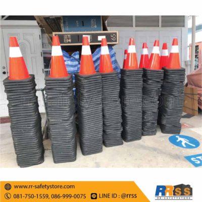 ส่งมอบ กรวยจราจร PVC ฐานเพิ่มน้ำหนัก ราคาถูก