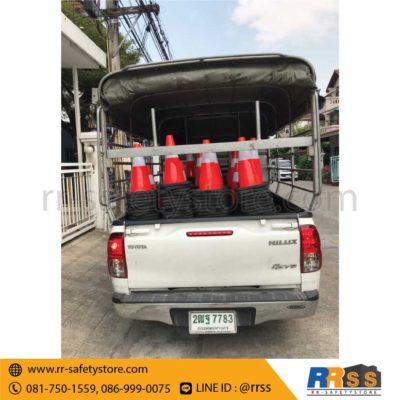 ส่งมอบ กรวยจราจร PVC ฐานเพิ่มน้ำหนัก 45 ซม.