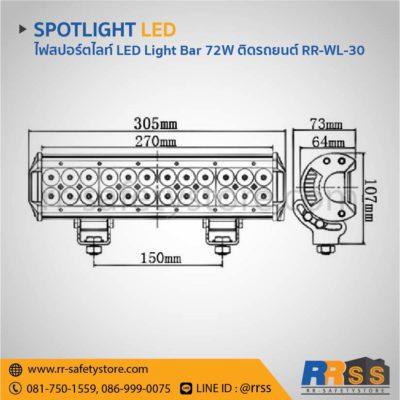 ไฟสปอร์ตไลท์ LED Light bar ติดรถยนต์ 4x4 off road 72W